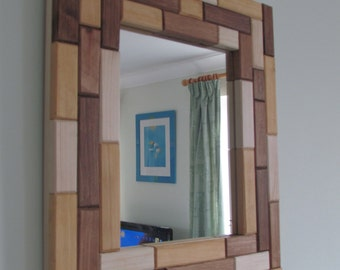 Handmade Wooden Mosaic Wall Mirror