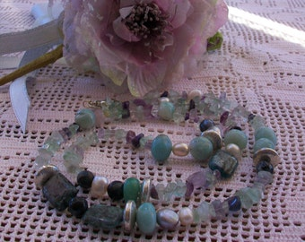 Necklace with natural stones, Fluorite, Labradorite, Amazonite, fresh water pearls and Silver plated, 73 cm.