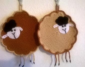 "handmade crochet potholders ""sheep"""