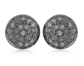 Pave Diamond Stud Earrings White Diamond stud earrings 8mm stud earring