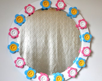 Round wallmirror for your room. Romantic white with blue and pink flowers