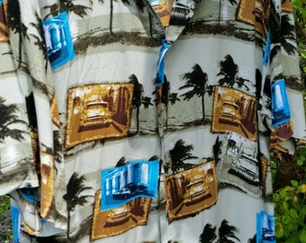 Mens Vintage Hawaiian Summer Shirt Retro Cars Rockabilly Large Quirky