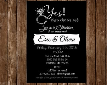 Yes! (That's what she said) Customized Engagement Party Invitation; Printable Invitation
