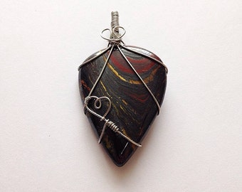 Tiger iron wire wrapped pendant