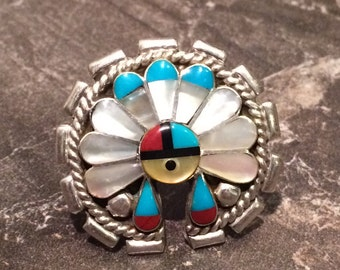 Sterling Silver Zuni Sun Face, Mother of Pearl, Turquoise, Coral, Jet Size 7