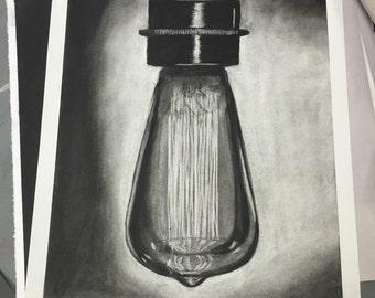 Vintage lightbulb in charcoal