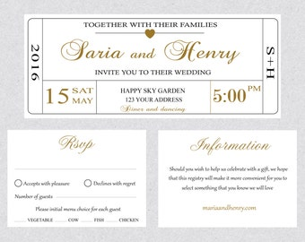 Printable Wedding Invitation Ticket Template Card, Editable Text Instant DOWNLOAD MS Word or Pages DIY Digital File WWT009