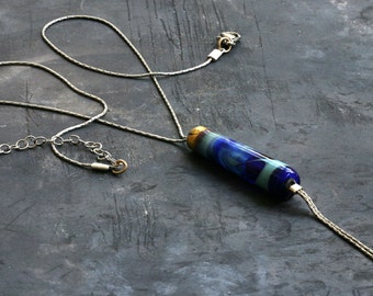 delicate sterling silver necklace, Murano hand made glass bead with 22 karat gold leaf, beautiful gift for her