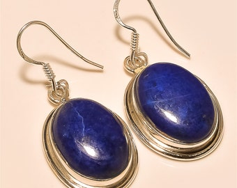 lapis Earring Solid Sterling Silver