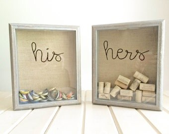 His & Hers Shadow Box, Cork Holder, Bottle Cap Holder