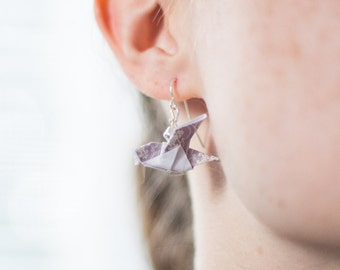 Drop Sparrow Earrings - Origami Sparrow - Violet Purple