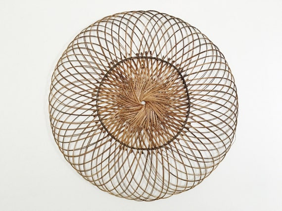 Woven Leaves Wall Decor : Large vintage woven wicker wall hanging decor