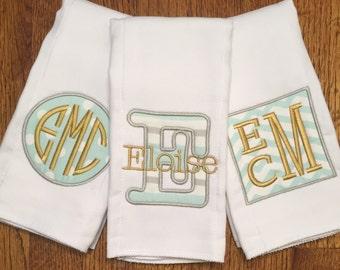 Monogram/Initial Personalized Burp Cloth