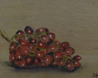 A Bunch Of Red Grapes - Encaustic Painting - Kitchen Art