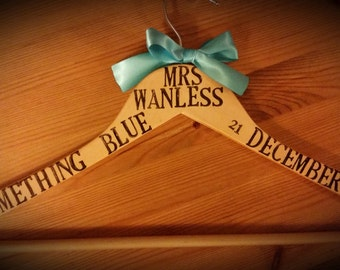 Personalised Wedding hanger, Bridal hanger, Gift For The Bride, Wedding Keepsake