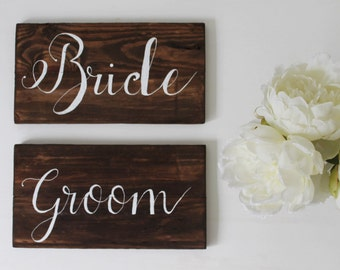 Bride and Groom Chair Sign - Wedding Sign - Rustic Wedding Decor - Wedding Dinner Signs - Wedding Photo Props