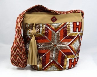 Luxury Mochila Bags with Leather and Crystals - Istanbul - Fire