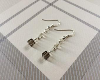 Handmade delicate grey drop earrings