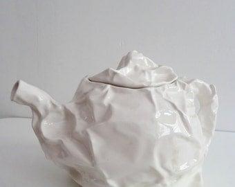 Modern Wrinkled White Teapot / Porcelain Modernist Paperlike Look