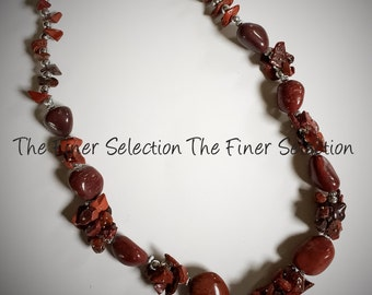 glass beaded necklace in clay color