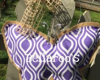Burlap and fabric butterfly door hanger