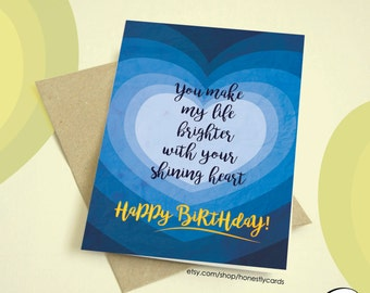 Shining Heart - Birthday Card - HonestlyCards - Order as or Customizable