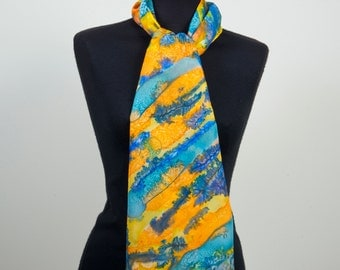 Handpainted Long 100% Silk Scarf dyed with silk dyes. Yellow orange & blue. Gift for her. Birthday Gift