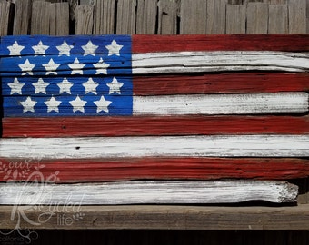 American Flag Sign - Forth of July - Home Decor - Rustic Flag - Wall Decor - July 4th Decor - United States - Reclaimed Wood Sign