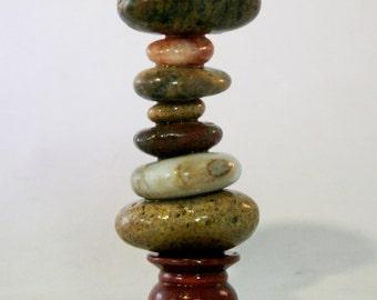 Beach Stone Stack with Wood Base. Scholar Stones. Desktop Meditation Tool. Cairn
