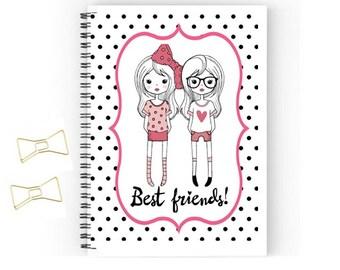 Best friends journal, notebook size 5x8, journaling diary, custom journal