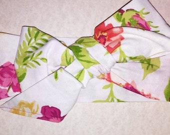Tropical Floral Headwrap (White or Aqua)