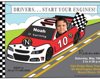 Race Car Birthday Invitation, Photo Nascar Birthday Invitation, Photo Invitation, Custom Photo Invitation