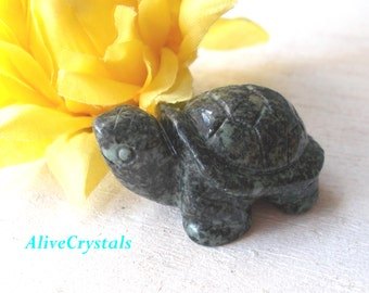 Healing Stones and Crystals, Carved Turtle Figurine, Natural Gemstone Carvings Stone Animal Figurines, Tortoise Carving, Feng Shui Decor