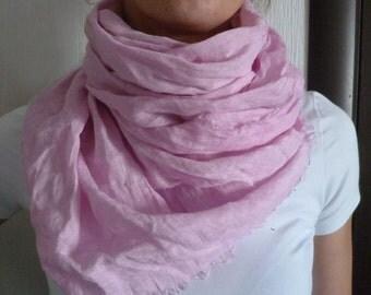 Linen scarf soft pink gift idea Pink Linen scarf linen natural pink linen summer scarf.