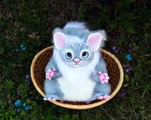 Fluffic.( made to order) OOAK Cute Handmade Fantasy Creature art toy. doll.Fantastic kitten