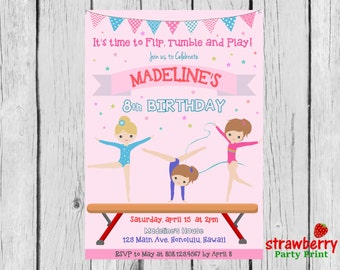 Gymnastics Birthday Invitation, Tumble Party Invite, Gym Girl Pink, Custom Invitation NOT Instant Download