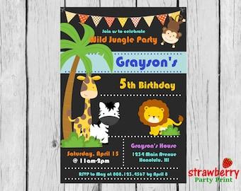 Jungle Birthday Invitation, Safari Birthday Invitation,  Zoo Birthday, Safari Jungle Birthday, Safari Animals, Party Printables