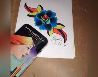 Tattoo flash print: Neotradtional flower