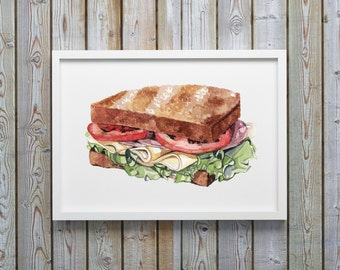 Sandwich Illustration Print, Giclee Print, Kitchen Decor, Food Wall Art, Watercolor painting print, Food Illustration. Sandwich