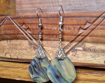 Blue Ocean Silver Dangly Earrings