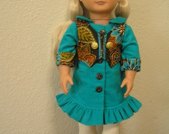 "SALE --- Pinwale Corduroy Button-down Dress with Quilted Vest and Ribbed Leggings for American Girl and Other 18"" Dolls"