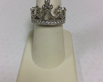 925 Crown Ring with Czs