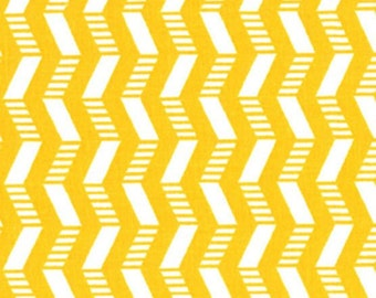 """11"""" REMNANT - Patterned Chevron Yellow & White by Quilter's Showcase, Striped white Chevron and Plain Yellow Chevron"""