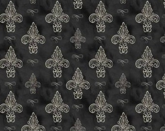 BTHY - Love Paris Collection by David Textiles, Pat. #WA-3512-4C-1 Fleur de Li - Black, Tonal Cream and Beige Fleur de Li's on a Tonal Black