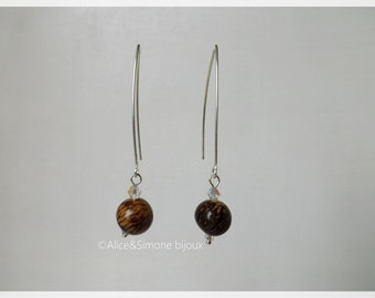 Silver earrings and beads seeds ACAI (Palm) of the Brazil / handcrafted