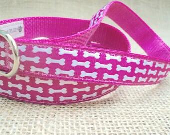 "Dog Leash: 3/4"" Wide, Adjustable 4'-6' feet~ Pink Bone Woven Print with Metal Swivel Trigger-Snap Hook"