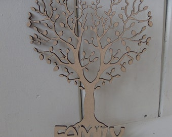 10 x Heart Tree With FAMILY Base - 15cms - 40cms - crafting, painting, box frames, MDF