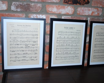 Vintage Framed Sheet Music Set of 4