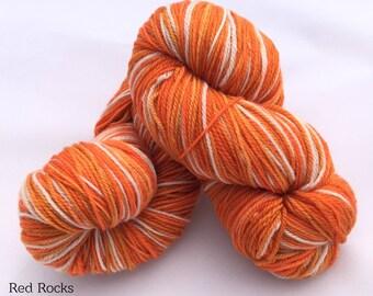 Self-Striping Red Rocks Hand Dyed Sock yarn