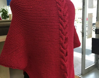 Red poncho scarf